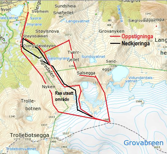 Kart med inntegna rute til Grovabreen