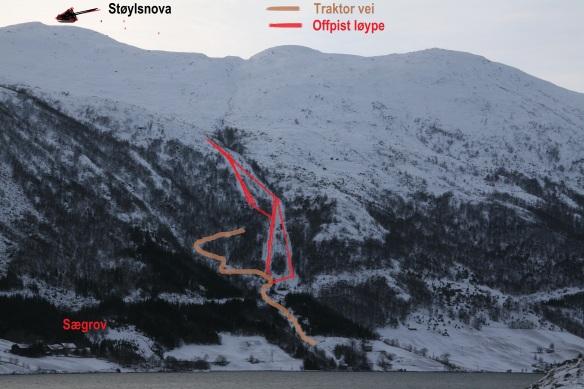 Offpistløypa ned til Sægrov i Kjøsnesfjorden. Ligger på høyre side av Sundestøylen
