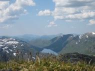 Utsikten ifrå oppstininga til Instengfjellet 1405 moh i Årdalen